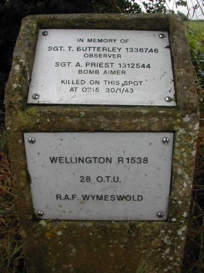 Plaque at the crash site of Vickers Wellington Mk.IC R1538 on farm land at Dilhorne