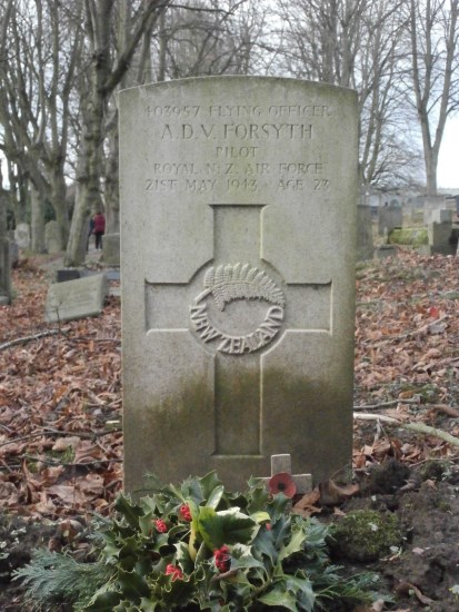 Grave of Flying Officer Archibald Douglas Vincent Forsyth at Ashbourne Cemetery