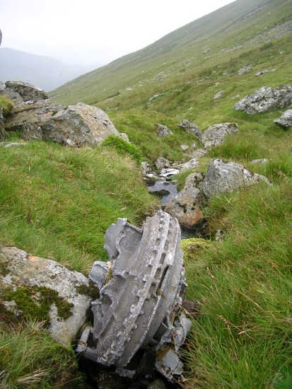 Rolls Royce Merlin supercharger at the crash site of Avro Lincoln RF511 on Carnedd Llewelyn, Gwynedd, Wales - Copyright Peak District Air Accident Research