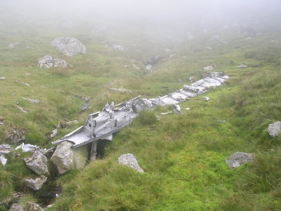 Rear spar section at the crash site of Avro Lincoln RF511 on Carnedd Llewelyn, Gwynedd, Wales - Copyright Peak District Air Accident Research