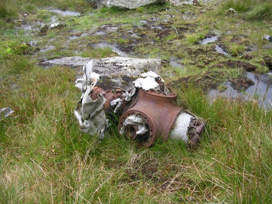 Propeller hub near the crash site of Avro Lincoln RF511 on Carnedd Llewelyn, Gwynedd, Wales - Copyright Peak District Air Accident Research