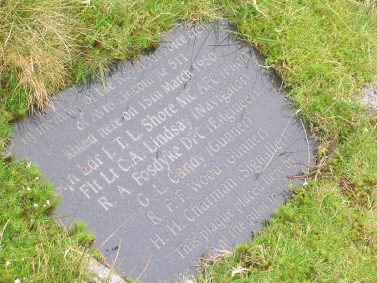 Memorial plaque near the crash site of Avro Lincoln RF511 on Carnedd Llewelyn, Gwynedd, Wales - Copyright Peak District Air Accident Research