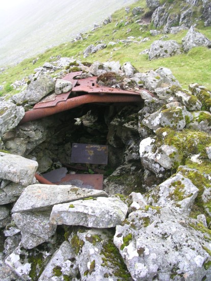Stone shelter made using aircraft wreckage from Avro Lincoln RF511 close to the crash site on Carnedd Llewelyn, Gwynedd, Wales