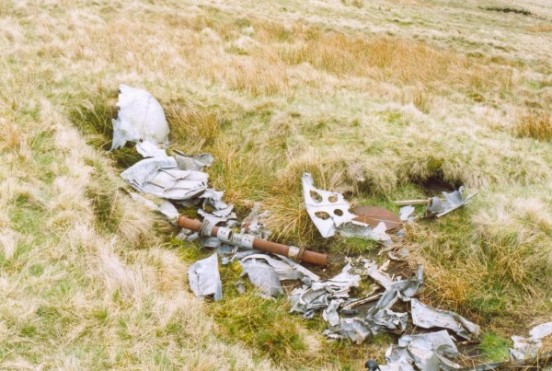 Wreckage at the crash site of de Havilland Mosquito RL197 on Great Whernside, Kettlewell, Yorkshire