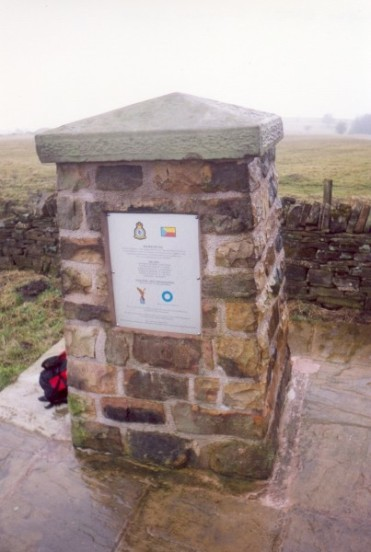 Memorial at the crash site of Handley Page Halifax RT922 at Grindon, Staffordshire