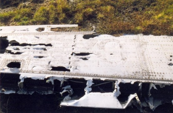 Wing from Canadair Sabre XD707 near the crash site on Ashop Moor, Derbyshire