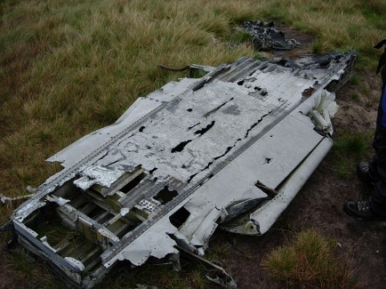 Wing from Canadair Sabre XD730 near the crash site on Ashop Moor, Derbyshire