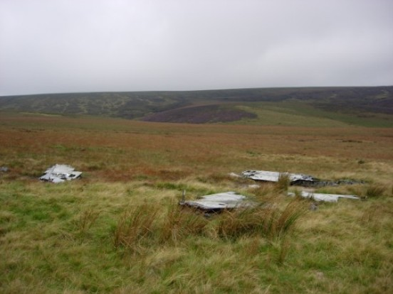 Wreckage of Canadair Sabre XD707 and XD730 near the crash site on Ashop Moor, Derbyshire