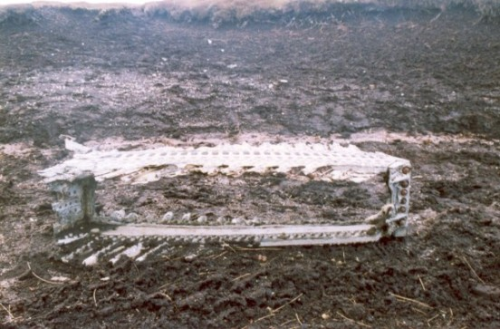 Wreckage at the crash site of Canadair Sabre XD730 and XD707 on Kinder Scout, Derbyshire