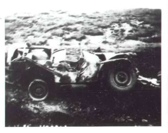 Accident report photograph showing a Willys Jeep at the crash site of Douglas C-47A 41-108982 on Shelf Moor, Bleaklow