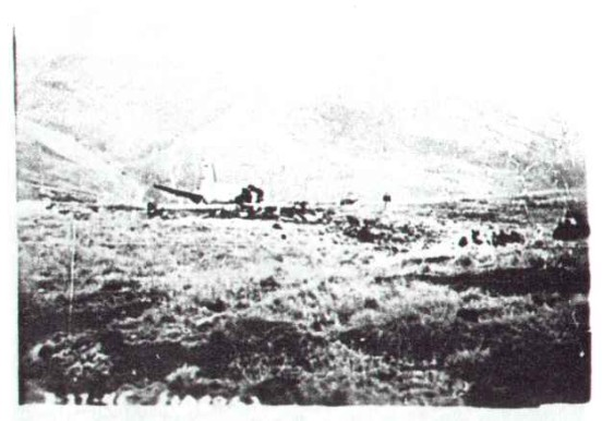 Accident report photograph showing the crash site of Douglas C-47A 41-108982 on Shelf Moor, Bleaklow