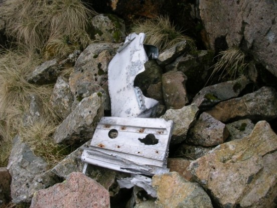 Small piece os wreckage near the crash site of Supermarine Spitfire SL611 on Ill Crag, Scafell Pike