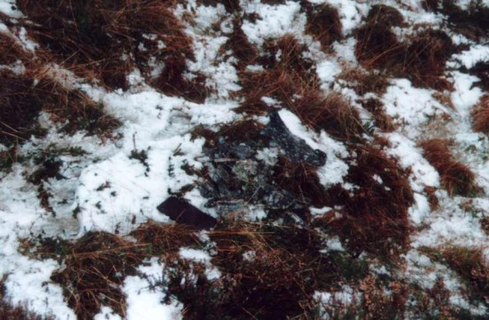 Wreckage at the crash site of Supermarine Spitfire SM278 on Arden Great Moor, North Yorkshire
