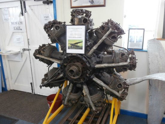 Bristol Mercury engine from Westland Lysander T1655 crashed between Cadair Berwyn and Cadair Bronwen on display at the Wartime Aicraft Recovery Group museum at Sleap aerodrome in Shropshire