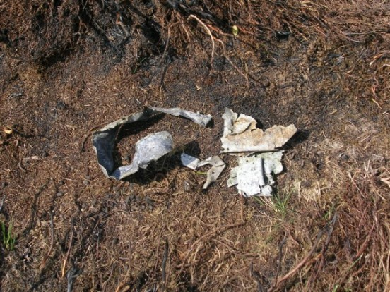 Scraps of aluminium wreckage at the crash site of Whitley T4225 on Bingley Moor, Yorkshire
