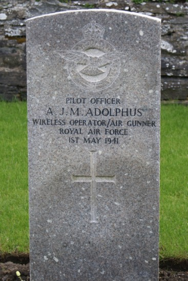 Grave of Pilot Officer Aubyn John Mathie Adolphus at Wick Cemetery, killed in the crash of Lockheed Hudson T9292 near Brora, Sutherland