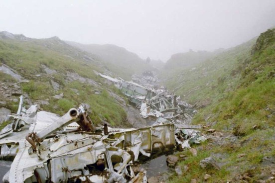Wreckage from Lockheed Hudson T9432 at the crash site high on Ben Lui