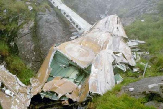 Tail section at the crash site of Lockheed Hudson T9432 on Ben Lui
