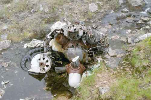 Wright Cyclone engine from Lockheed Hudson T9432 at the crash site on Ben Lui