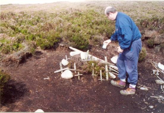 Wreckage at the crash site of Airspeed Consul (Oxford) TF-RPM on Crow Stone Edge, Howden Moors
