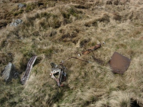 Wreckage at the crash site of de Havilland Mosquito TV982 in Cwm Llan, Snowdon