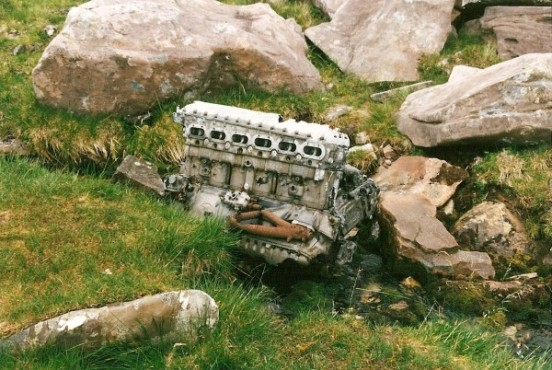 Rolls Royce Merlin engine at the crash site of Avro Lancaster TX264 on Beinn Eighe