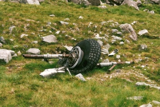 Main wheel near the crash site of Avro Lancaster TX264 on Beinn Eighe