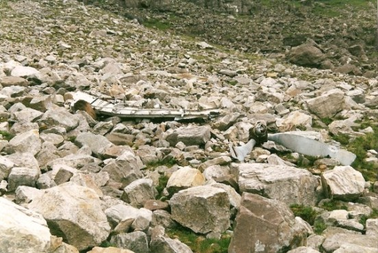 Propeller on the scree slope below the crash site of Avro Lancaster TX264 on Beinn Eighe