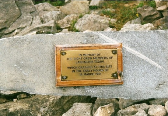 Plaque attached to a propeller at the crash site of Avro Lancaster TX264 on Beinn Eighe