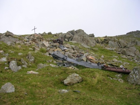 Section of wing spar at the crash site of Hawker Hurricane V6565 on Slight Side, Sca Fell
