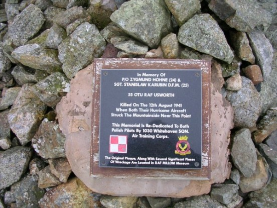 Plaque at the crash site of Hawker Hurricane V6565 on Slight Side commemorating Pilot Officer Zygmund Hohne and Sergeant Stanislaw Karubin