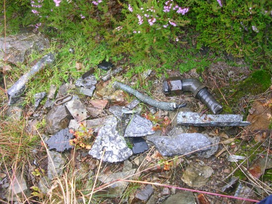 Small pieces of wreckage at the crash site of Hawker Hurricane V7539 on Scar Crags, Keswick