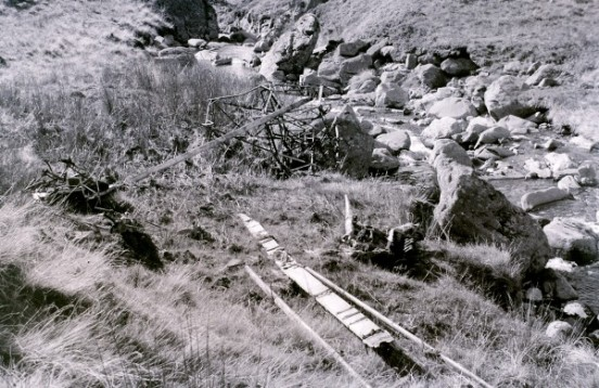 Wreckage near the crash site of Auster A.O.P. Mk.6 VF554 in the 1960s