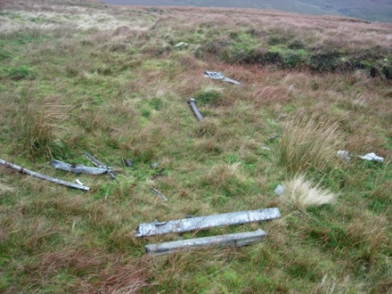 Scattered fragments of wreckage from Halifax W1146 on Great Shunner Fell, Keld, Yorkshire