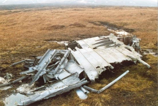 Pile of wreckage at the crash site of Blackburn Botha W5103 on Round Hill, Bleaklow, Longdendale