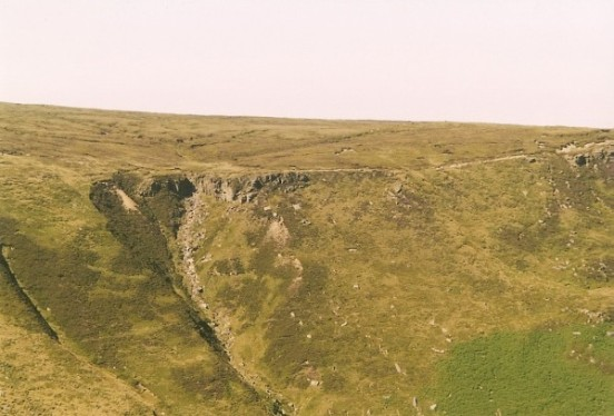View across Grindsbrook Clough towards the crash site of Vickers Wellington Mk.IC W5719 on Far Upper Tor, Kinder Scout, Edale