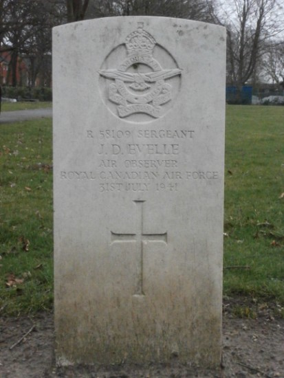 Grave of Sergeant Jack Douglas Evelle, Royal Canadian Air Force, at Manchester Southern Cemetery