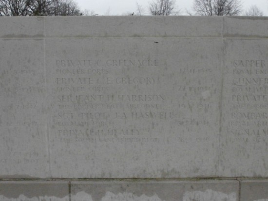 Screen wall at Manchester Southern Cemetery commemorating Sergeant Joseph Arthur Haswell
