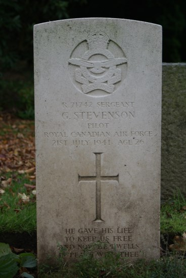 Grave of Sergeant George Stevenson, RCAF, at Carlisle (Dalston Road) Cemetery, killed in Hawker Hurricane Mk.I W9112 on Lowther Hill