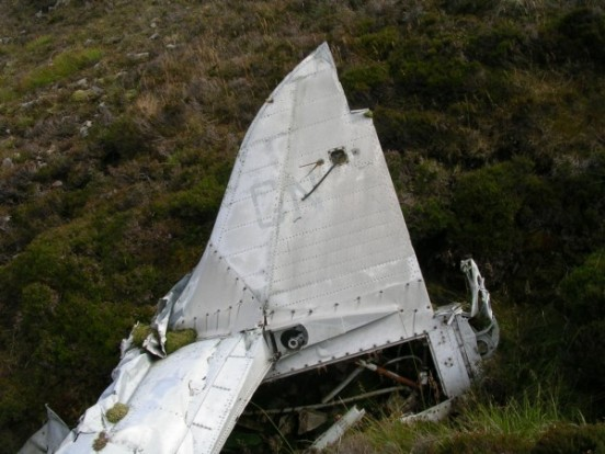 Tail at the crash site of Fairey Firefly WB336 on Beinn Uraraidh, Isle of Islay