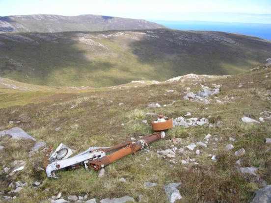 Undercarriage oleos at the crash site of Fairey Firefly WB336 on Beinn Uraraidh, Isle of Islay
