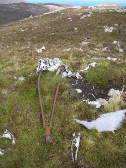 Arrestor hook at the crash site of Fairey Firefly WB336 on Beinn Uraraidh, Isle of Islay