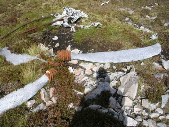 Propeller blades at the crash site of Fairey Firefly WB336 on Beinn Uraraidh, Isle of Islay