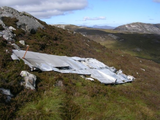 Port wing at the crash site of Fairey Firefly WB336 on Beinn Uraraidh, Isle of Islay