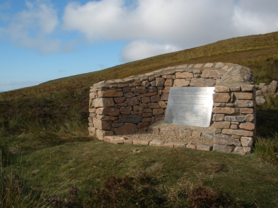 Memorial at the crash site of Avro Shackleton M.R. Mk.2 WB833 near Garvalt, Mull of Kintyre