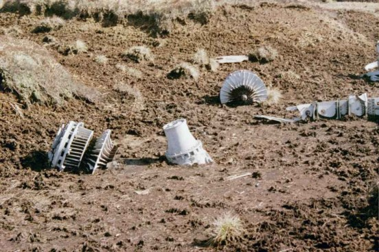 Engine wreckage at the crash site of Gloster Meteor WD778 on Knock Fell, Dufton, Cumbria