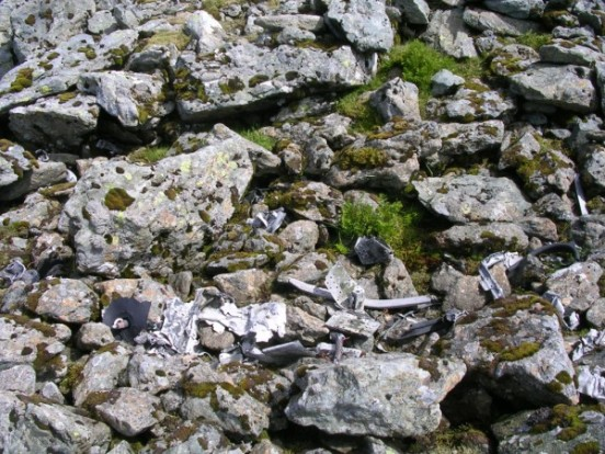 Wreckage at the crash site of English Electric Canberra B. Mk.2 Wk129 on Carnedd Llewelyn, Snowdonia, Wales