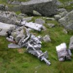 Aircraft wreckage, at Ffynnon Llyffant, near the crash site on Carnedd Llewelyn (Snowdonia) of English Electric Canberra WK129