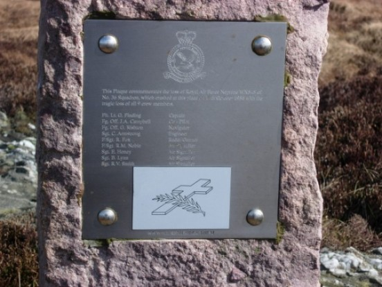 Memorial overlooking the crash site of Lockheed Neptune WX545 on Beinn na Lice, Mull of Kintyre