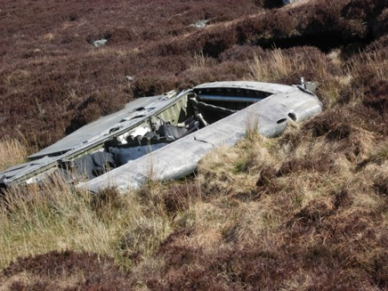 Port outer wing at the crash site of Lockheed Neptune WX545 on Beinn na Lice, Mull of Kintyre
